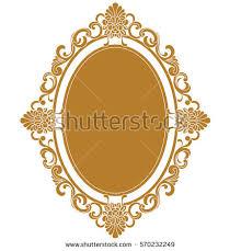 vintage frame design oval. Golden Oval Vintage Border Frame Engraving With Retro Ornament Pattern In Antique Baroque Style Decorative Design