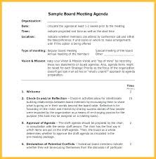 Sample G Agenda Template Of A Example Nonprofit Board Draft