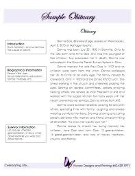 Printable Obituary Example Writing An Obit For Mom Templates ...