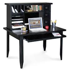 furniture furniture counter idea black wood office. Furniture. Square Black Wooden Desk With Shelf For Keyboard Plus Shelves And Drawers On The Furniture Counter Idea Wood Office E