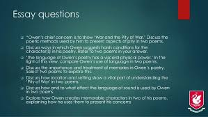 "wilfred owen poetry as english literature westlake boys cie essay questions  ""owen s"