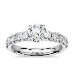 riviera pav diamond engagement ring in platinum 3 4 ct tw