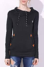 <b>Pocket Design Embroidered Drawstring</b> Hoodie in Black S ...