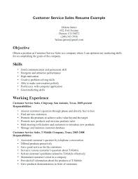 Customer Service Resume Objectives Examples With Regard To Sample