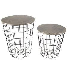 möbel black metal wire round side table