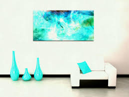 teal coloured canvas wall art