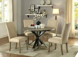 round dining table 5 chairs 5 collection driftwood grey wood round dining table set with trestle