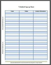 Tournament Sign Up Sheets Free Printable Volleyball Sign Up Sheet K 12 Education And