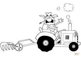 Small Picture Happy Farmer Driving Tractor coloring page Free Printable