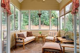 comfy brown wooden sunroom furniture paired. Large Sunroom With Casual Living Room Wood-made Furniture Natural Brown Floor White Lines Comfy Wooden Paired B