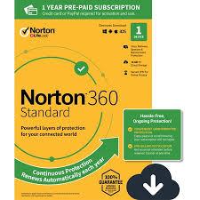 Norton 360 Standard 1 Year Subscription 1 Device Pc Mac Digital Download