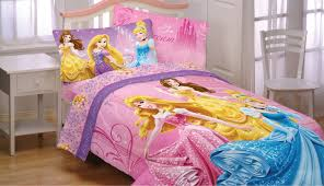 disney princess bedding set for single bed and white table also white chair for girls bedroom interior decorating ideas