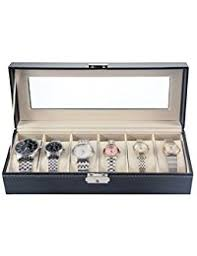 watch boxes amazon co uk melodysusie watch display box watch case for men high grade luxurious faux leather glass cover 6 slots