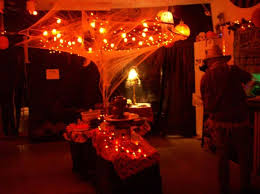 Halloween party lighting - Page 3 old patio umbrella covered in lights and  cobweb