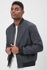 men s faux leather er jacket black forever 21