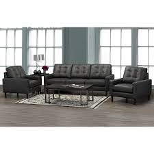 ner mid century modern dark grey top grain italian leather tufted sofa and two chairs