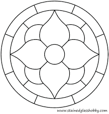 stain glass coloring pages simple stained flower round panel geometric design free window colorin