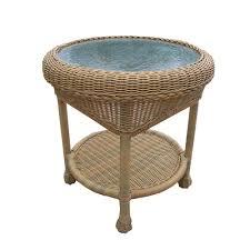 honey wicker outdoor side table