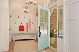 front door benchFront door bench seat entry beach style with light blue door
