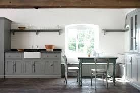 view in gallery unassuming kitchen with gray cabinets and a whitewashed brick wall design devol kitchens