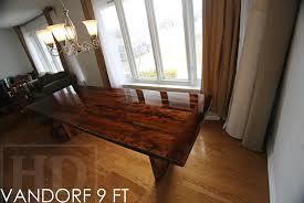 9 ft modern 3u2033 plank posts table u2013 36u2033 wide reclaimed hemlock premium epoxyhigh gloss polyurethane finish matching 3 trestle style bench high wood furniture b20 gloss