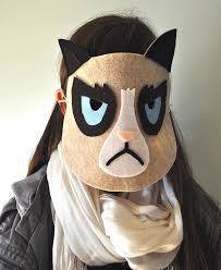 you can make this diy grumpy cat mask it s just a bunch of diffe colors of felt with an elastic band so the materials should be easy to round up