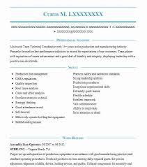 Assembly Line Operator Resume Sample Operator Resumes LiveCareer Adorable Assembler Resume