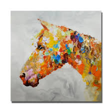 framed oil paintings on canvas the colorful horse head image no framed and with framed oil