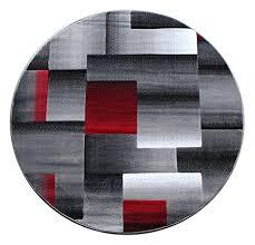 masada rugs modern contemporary round area rug red grey black 5 feet x 5 feet round