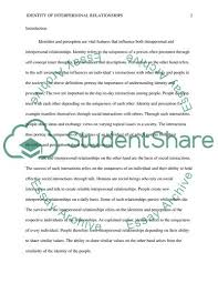 Interpersonal Relationships Identity Of Interpersonal Relationships Essay Example