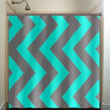 turquoise aqua blue gray vertical chevron shower curtain bathroom decor fabric kids bath white black custom