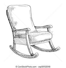 rocking chair sketch. Simple Sketch Rocking Chair Isolated On White Background Sketch A Comfortable Chair  Vector Illustration For Chair Sketch E