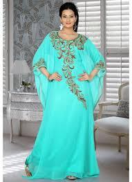 Embellish Blue Color Embroidered Stylish Kaftan Dresses