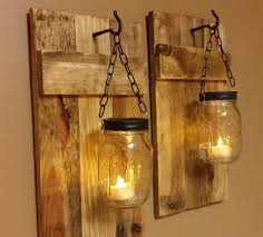outdoor wall lighting ideas with diy hanging mason jar candle holders with wire and reclaimed wood ideas