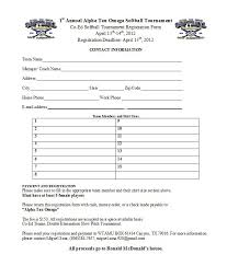 Tournament Sign Up Sheets Softball Sign Up Sheet Template