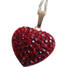 ruby red pavé swarovski crystals heart pendant and sterling chain bijoux vintage ruby lane