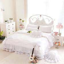 queen white comforter luxury snow white bedding sets queen king lace ruffle bedspread princess comforter duvet