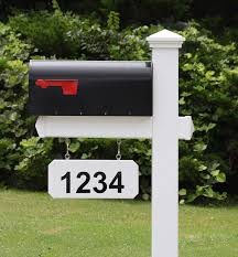 4ever Products The Fitzgerald Mailbox With Post Included Hanging Blank Address Plate Black Metal Mailbox With White Vinyl Post Combo Complete System
