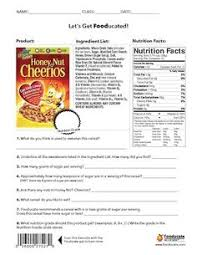 six weeks nutrition food labels fun nutrition worksheets for kids