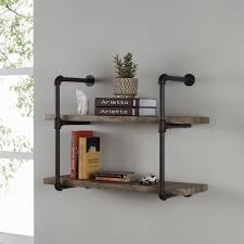 modest ideas silver pipe shelves danya b two tier industrial pipe wall shelf
