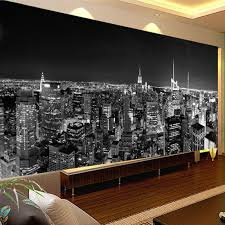 custom photo wallpaper mural night view new york city black and white building wall paper modern living room mural wallpaper in wallpapers from home