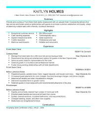 front desk clerk resume sample