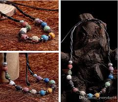 2019 ball strand beaded necklace jewelry multicolor lava stone women essential oil diffuser leather cord beaded necklaces natural rocks collares from