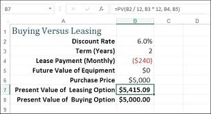lease vs buy calculator excel present value excel formula how to calculate the present value of