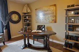 retro home office. Classical Retro Home Office Design With Cream Paint Wall And Antique Round Clock Also Half Wooden Desk Idea