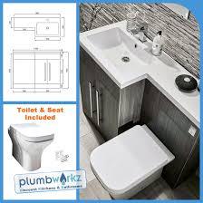 Bathroom Suites Ebay L Shape Grey 1100mm Bathroom Furniture Suite Resin Basin Btw