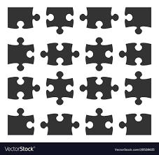 Set Icon Jigsaw Puzzle Part Design Elements Vector Image