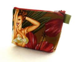 island s tropical hawaiian retro pin up fabric gadget pouch small cosmetic bag fabric