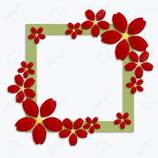 Decorative Green Paper Cut Border With Red Paper Flowers 3d