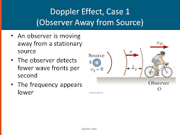26 doppler effect case 1 observer away from source an observer is moving away from a stationary source the observer detects fewer wave fronts per second